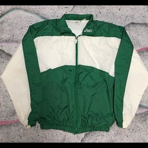 Vintage ASICS Windbreaker Jacket Color Green/White